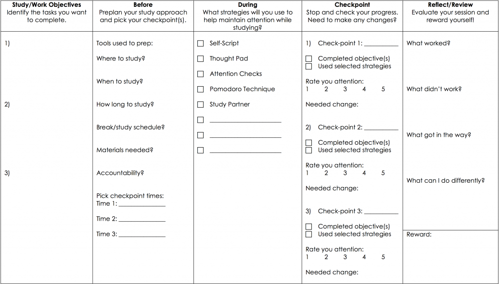 Preview of the effective study plans document that lists categories including study objectives, before, during, checkpoint, and reflect/review.