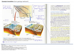 An image of a geology textbook page showing written notes and highlighting to indicate annotation possibilities.