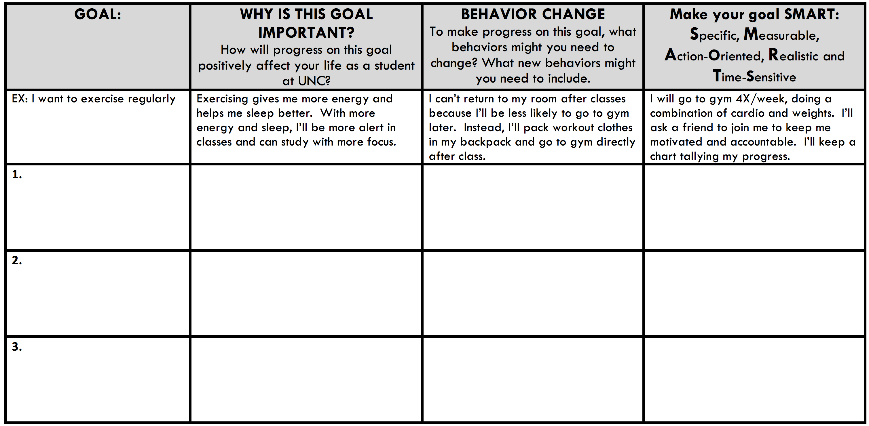 Semester action plan learning center for What is an action plan template