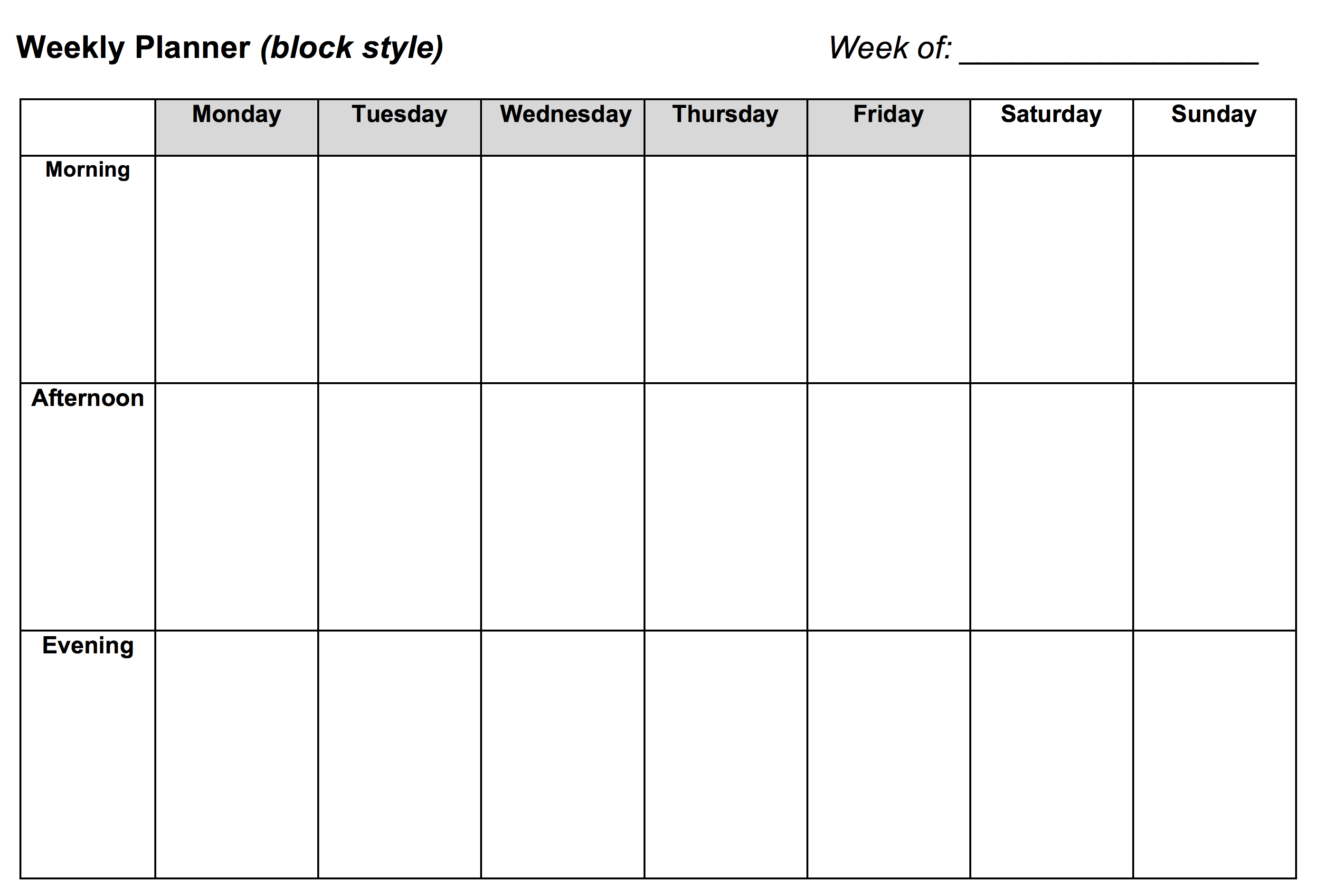 Weekly Planner: Block Style - Learning Center